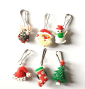 6 pcs Christmas Zipper Pull / Zip pull Charms for Jacket Backpack Bag Pendant