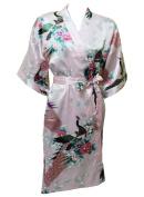 Artiwa Women's Kimono Style Satin Robe - Peacock & Blossom Design, Short Pink