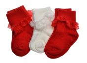 3 pairs of Baby Socks with Lace Age 6-12 Months