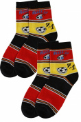 Weri Spezials 2 Pairs Unisex-Kids 7:1 Fan Sock Fantastic football history! Black/Red/Gold