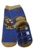 Weri Spezials Baby-Unisex Terry ABS Lionet Slippers Anti Non Slip Socks Blue