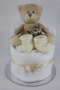 Neutral Single One Tier Unisex Cream Nappy Cake Baby Shower Maternity Gift