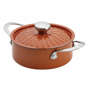 Rachael Ray Cucina Oven-To-Table Hard Enamel Nonstick 2.4l Covered Round Casserole, Pumpkin Orange