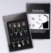 12 Wine Glass Charms the Gourmet Collection with Velveteen Storage Bag