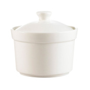 CAC China CAS-B8 220ml Porcelain Round Soup Bowl with Lid, 8.9cm by 6cm , Super White, Box of 24