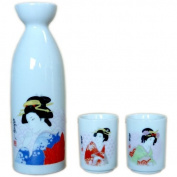 Japanese beauty sake bottle and cup set boxed