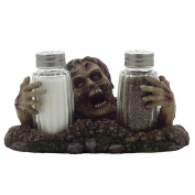 Graveyard Zombie Glass Salt and Pepper Shaker Set Figurine Sculpture Halloween Decoration & Decorative Bar or Kitchen Tabletop Accent and Gothic Gifts