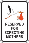 "Accuform Signs FRP357RA Engineer Grade Reflective Aluminium Designated Parking Sign, Legend ""RESERVED FOR EXPECTING MOTHERS"" with Stork and Baby Graphic, 30cm Width x 46cm Length x 0.2cm Thickness, Black on White"