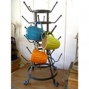 MyGift® Vintage Rustic Black Iron Mug / Glass / Cup / Bottle Hanger Hooks Drying Rack Organiser Stand