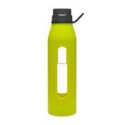 Takeya Classic Glass Water Bottle with Silicone Sleeve, Black/Green Apple, 650ml