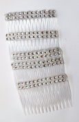 Pkt of 5 Clear with Diamontie effect Combs Good For Fascinator Making. Weddings, Occasions. Size 7cm x 5cm