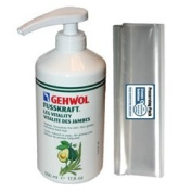 GEHWOL FUSSKRAFT LEG VITALITY feet balm kit / Vitalizes, smoothenes the skin, refreshes tired legs / Large Salon Size 0,5L 500ml / Largest on Amazon / Comes with preserving pack / Dermatologically tested / Made in Germany
