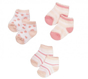Baby Girls Cute Socks 3 Pairs - Pink Hearts & Stripes Design