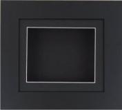 BabyRice Deep Box Display Frame for 2D 3D Art Objects Medal Keepsake Baby Casts 1st Shoes Flowers Black / Black Mount / Black backing