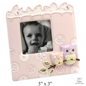 Baby Owl Series Girls Pink Small Photo Frame - 7.6cm x 7.6cm Picture