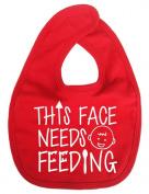 Dirty Fingers, This face needs Feeding, Boy Girl Feeding Bib, Red
