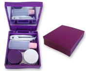 Contact Lens Travel Kit Case (Purple) ~ Mirror Tweezers & Solution Storage Set for Lenses