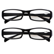 Southern Seas 2 Pairs (Black) Womens Mens Everyday Reading Glasses Spectacles Strength +100