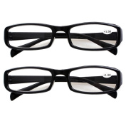 Southern Seas 2 Pairs (Black Frame) Womens Mens Durable Reading Glasses Strength +1.50 New