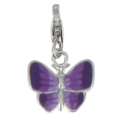Les Poulettes Jewels - Sterling Silver Butterfly with Purple Enamel Charms with Lobster Clasp