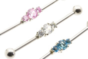 Industrial Scaffold Piercing Bar 3 CLEAR Gems cluster centre 38mm Long 1.6mm thick 5mm Ball, barbell
