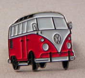 Metal Enamel Pin Badge Brooch Volkswagen VW Camper Van Transporter RED