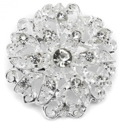 Elixir77UK Silver Colour Flower Gift Bridal Wedding Pin Brooch With Plain Crystals