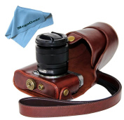 """MegaGear """"Ever Ready"""" Protective Dark Brown Leather Camera Case , Bag for Fujifilm X-M1 (XM1, X-a1) Compact System with 16-50mm Lens"""