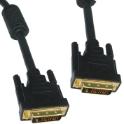 DVI-D Dual Link with Ferrite Cores Male to Male Cable Gold 1m