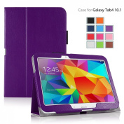 MOFRED® Purple Samsung Galaxy Tab 10cm - 26cm Case-MOFRED® Retail Packed Executive Multi Function Standby Case with Built-in Magnet for Sleep / Wake Feature For the Samsung Galaxy Tab 4 26cm Tablet + Screen Protector + Stylus Pen (Available in M ..