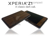 Sony Xperia Z1 COMPACT in Dark Oak Wood Skin Wrap Cover Decal Protector