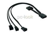 Phobya 300mm 4 Pin Molex to 2 x 4 Pin PWM & 1 x 3 Pin Sleeved Fan Cable : Black