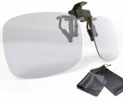 """High Quality 3D clip on glasses - Version 2 - for RealD cinema use and passive 3D TVs such as LG """"Cinema 3D"""" and Philips """"Easy 3D""""- circularly polarised - with pouch and cleaning cloth"""