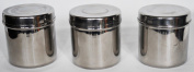 6 Round Stainless Steel Food Storage Spice Jars Pots Canisters Containers Rust Proof