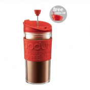 BODUM TRAVEL PRESS Coffee/Tea maker with extra lid, 0.35 l, 350ml - Red