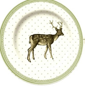 Creative Tops Fine China Katie Alice Highland Fling Green Spot Stag Side Plate, Multi-Colour