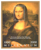 Art stamps - Millennium Mona Lisa stamp for stamp collecting - Painting by Leonardo da Vinci - 1 mint stamp on a stamp sheet - Never mounted and never hinged