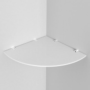 "Large Acrylic Corner Shelf 300mm approx 12"", Free Trolley Token Material Sample Included per Shipment , White"