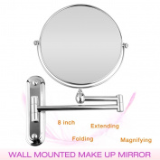 WmicroUK Chrome Extending 20cm Cosmetic Doubles Sides Wall Mounted Make Up Mirror Shaving Bathroom 3x