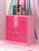 Chest of 4 Drawers in Two Tone Pink High Gloss