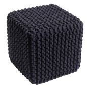 Homescapes Black Knitted Cube Footstool Bean Filled 100% Cotton for Living Room Children or the Elderly