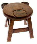 Childs Solid Wooden Bear Stool - Lovely High Quality