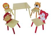 ANIMAL SAFARI THEMED CHILDRENS TABLE AND 4 CHAIRS SET