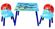 Disney Designs Wood/ MDF Table and Chairs Planes with Glossy Print, 60 x 60 x 42 cm, 3-Piece
