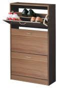 Premier Housewares 3-Drawer Shoe Cupboard with Veneer - 117 x 63 x 24 cm - Brown