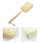 Natural Sisal Fibre Bath Body Back Brush Spa Shower Sponge Scrubber Long Handle