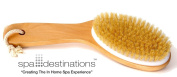 "Natural Bristle Body Brush with Wooden Handle by Spa Destinations® ""Creating The In Home Spa Experience"" Best Quality! Best Value!"