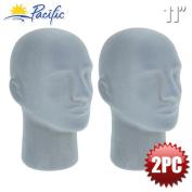 2PC Male 28cm STYROFOAM FOAM Grey Velvet Like MANNEQUIN MANIKIN head wig display hat glasses