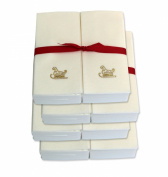 Disposable Guest Hand Towels with Ribbon - Embossed with a Gold Sleigh - 200ct