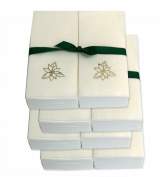 Disposable Guest Hand Towels with Ribbon - Embossed with a Silver Poinsettia - 200ct